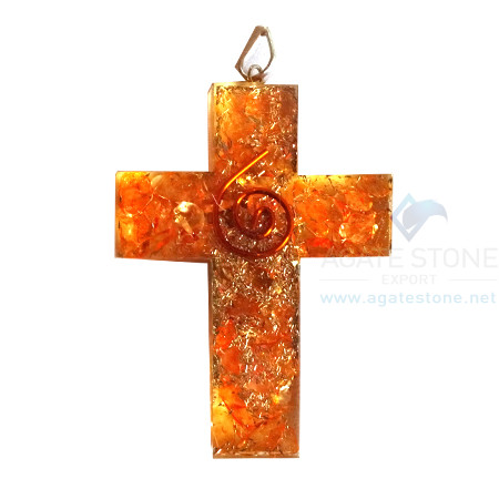 Orgonite Religious Cross Orange Onyx Pendant