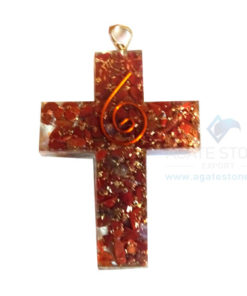 Orgonite Religious Cross Red Jasper Pendant