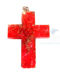 Orgonite Religious Cross Red Onyx Pendant