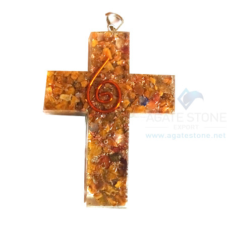Orgonite Religious Cross Yellow Jasper Pendant