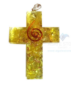 Orgonite Religious Cross Yellow Onyx Pendant