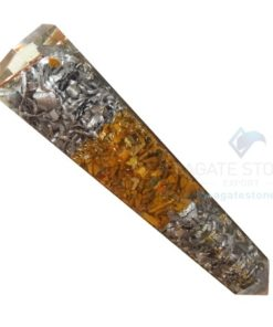 Orgonite Yellow Jasper Massage Obelisk with Aluminium