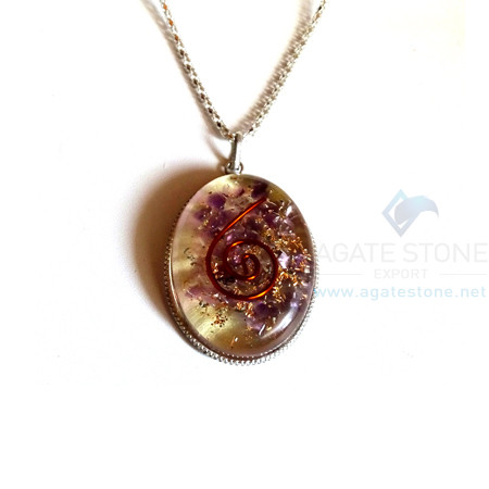 Oval Shaped Amethyst Orgonite Jewellery