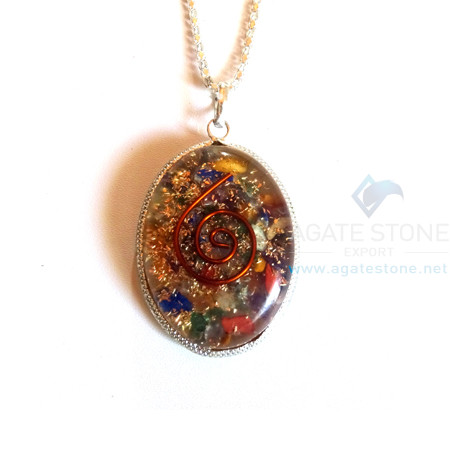 Oval Shaped Mix Chakra Orgonite Jewellery