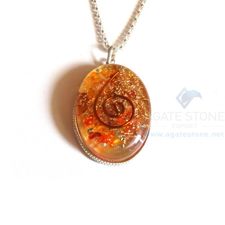 Oval Shaped Red Carnelian Orgonite Jewellery