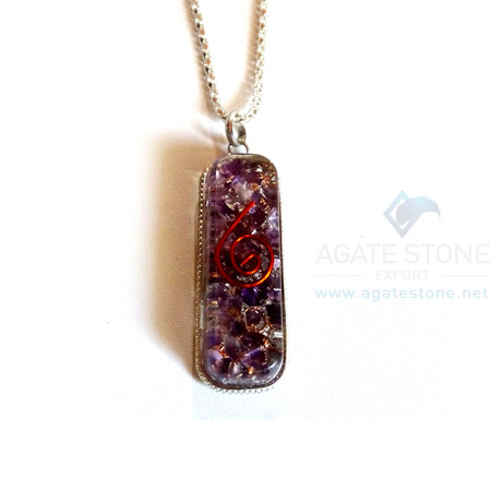 Pipe Shaped Amethyst Orgone Jewelry