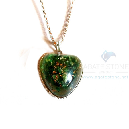 Puffy Heart Green Jade Orgonite Jewellery