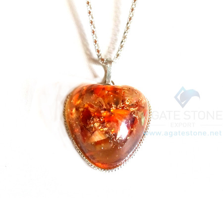 Puffy Heart Red Carnelian Orgonite Jewellery