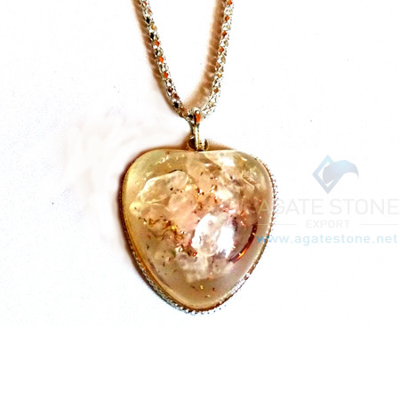 Puffy Heart Shaped Rose Quartz Orgone Jewelry
