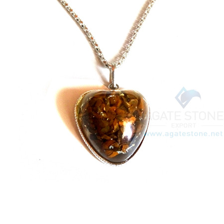 Puffy Heart Shaped Tiger Eye Orgonite Jewellery