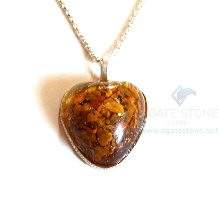 Puffy Heart Shaped Yellow Jasper Orgone Jewelry