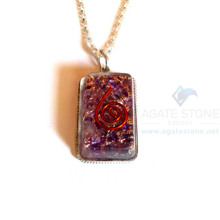 Rectangle Shaped Amethyst Orgonite Jewellery