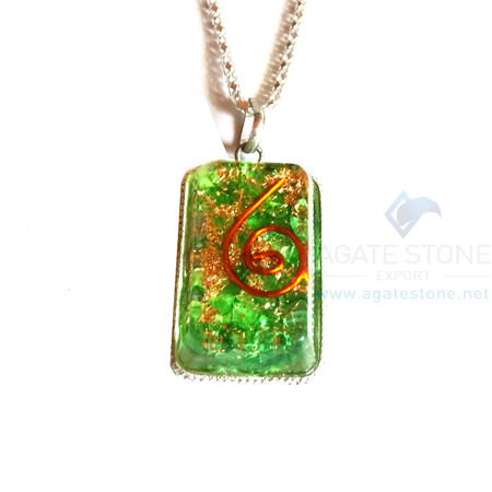 Rectangle Shaped Green Onyx Orgonite Jewellery