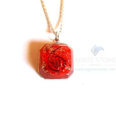 Red Onyx Orgone Faceted Square Jewelry