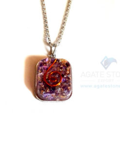 Rounded Square Amethyst Orgonite Jewellery