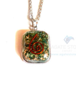 Rounded Square Green Jade Orgonite Jewellery