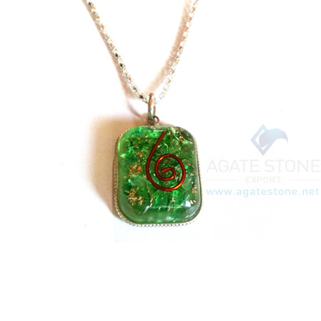 Rounded Square Green Onyx Orgone Jewelry