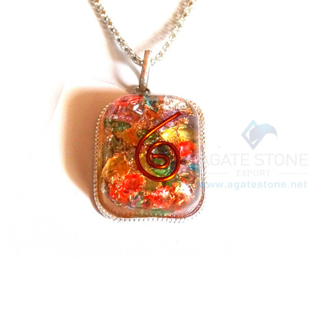 Rounded Square Mix Chakra Onyx Orgonite Jewellery