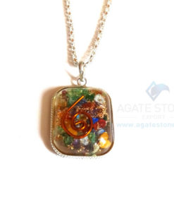 Rounded Square Mix Chakra Orgonite Jewellery