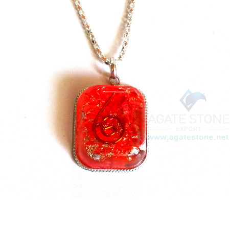 Rounded Square Red Onyx Orgone Jewelry
