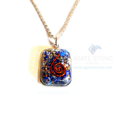 Rounded Square Shaped Lapis Lazuli Orgone Jewelry