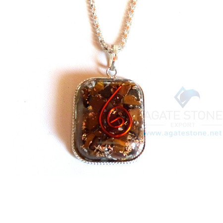 Rounded Square Shaped Tiger Eye Orgone Jewelry