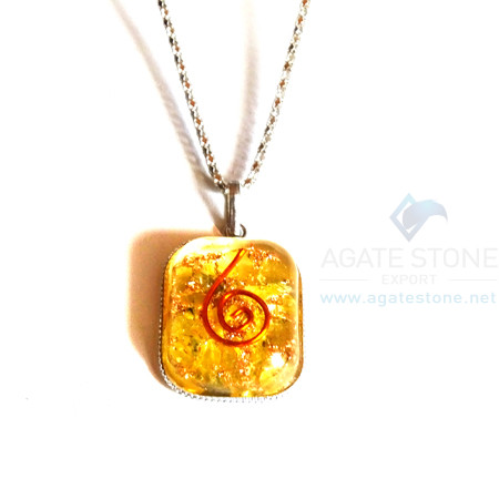 Rounded Square Yellow Onyx Orgonite Jewellery
