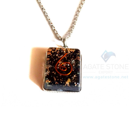 Square Shaped Black Tourmaline Orgonite Jewellery