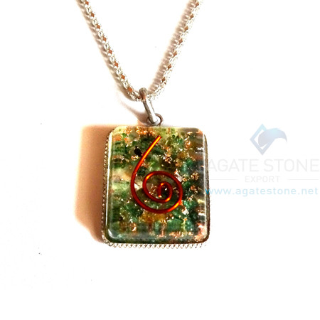 Square Shaped Green Jade Orgonite Jewellery