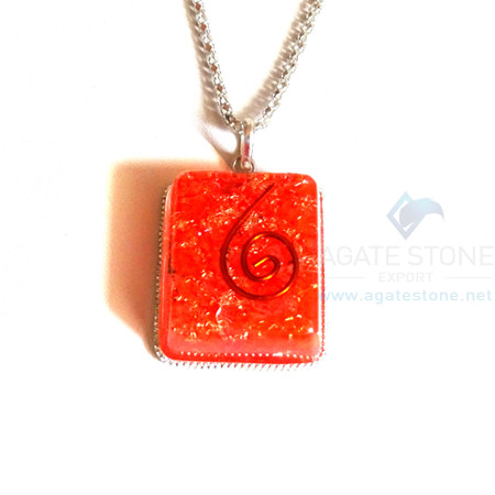Square Shaped Orange Onyx Orgone Jewelry