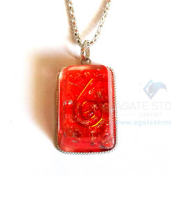 Square Shaped Red Onyx Orgonite Jewellery