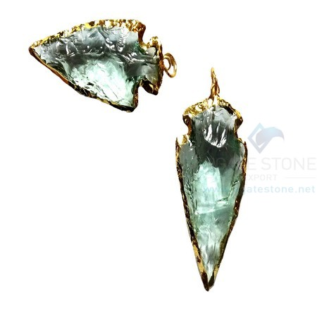 Aqua Glass Electroplated Agate Stone Arrowhead