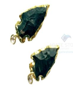 Black Electroplated Agate Stone Small Arrowhead