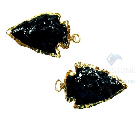 Black Glass Electroplated Agate Stone Arrowhead