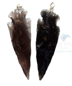 Black Glass Stone Arrowhead Pendant