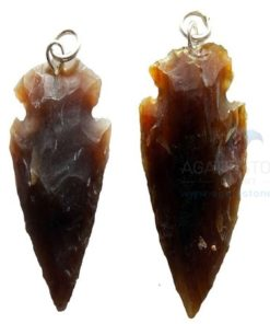 Blackish Small Agate Arrowhead Pendant