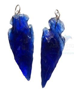 Blue Glass Stone Arrowhead Pendant