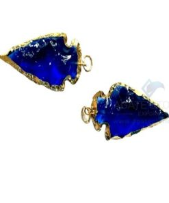 Dark Blue Glass Electroplated Agate Stone Arrowhead
