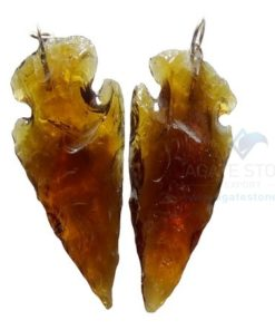 Fire Glass Stone Arrowhead Pendant