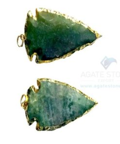Green Electroplated Agate Stone Arrowhead