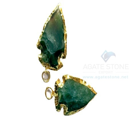 Green Electroplated Agate Stone Small Arrowhead