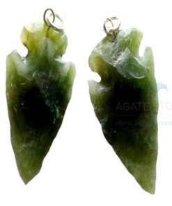 Greenish Agate Arrowhead Pendant