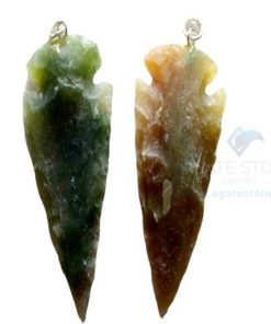 Greenish Small Agate Arrowhead Pendant