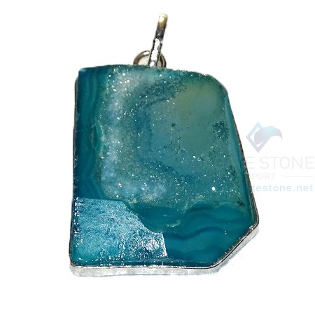 Light Blue Agate Druzy Stone Pendant