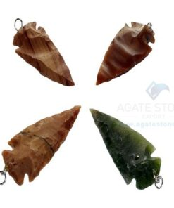 Mix Agate Arrowhead Pendant