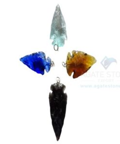 Mix Glass Stone Arrowhead Pendant