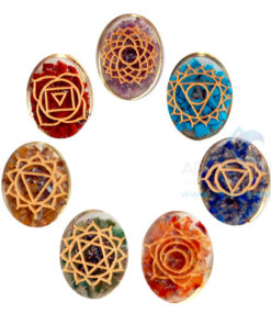 Orgone Oval Engraved Chakra Set with coil