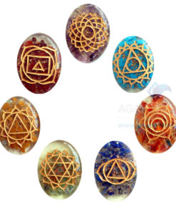 Orgone Oval Engraved Chakra Set without coil