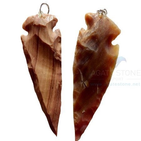 Patterned Agate Arrowhead Pendant