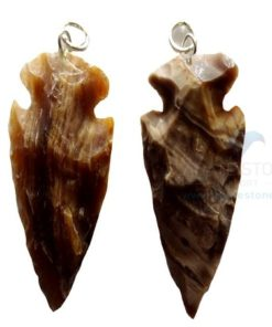 Patterned Small Agate Arrowhead Pendant